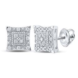 1/8 CTW Womens Round Diamond Square Earrings 10kt White Gold - REF-17R3X