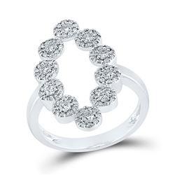 5/8 CTW Womens Round Diamond Oblong Fashion Ring 10kt White Gold - REF-47V3Y