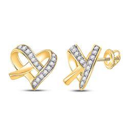 1/10 CTW Womens Round Diamond Heart Earrings 10kt Yellow Gold - REF-16N4A