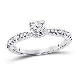 3/4 CTW Round Diamond Solitaire Bridal Wedding Engagement Ring 14kt White Gold - REF-170F5W