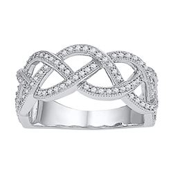 1/2 CTW Womens Round Diamond Woven Strand Band Ring 10kt White Gold - REF-37N5A