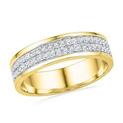 1/5 CTW Womens Round Diamond 2-row Band Ring 10kt Yellow Gold - REF-34T8V