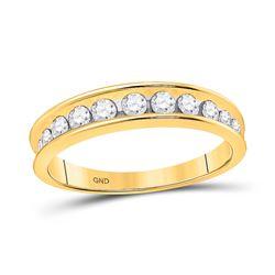 1/2 CTW Womens Round Channel-set Diamond Single Row Wedding Band Ring 14kt Yellow Gold - REF-36R2X