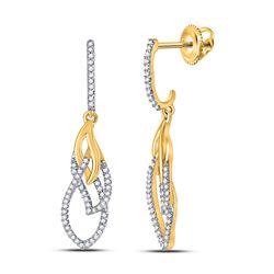 1/4 CTW Womens Round Diamond Dangle Earrings 10kt Yellow Gold - REF-23T3V