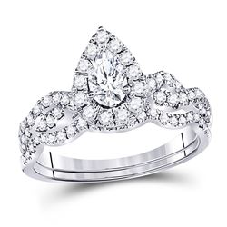 1 CTW Pear Diamond Bridal Wedding Ring 14kt White Gold - REF-129Y5N