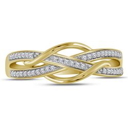 1/10 CTW Womens Round Diamond Woven Band Ring 10kt Yellow Gold - REF-17R6X