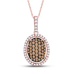 1/2 CTW Womens Round Brown Diamond Oval Cluster Pendant 10kt Rose Gold - REF-27Y3N