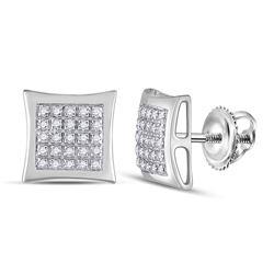 1/8 CTW Mens Round Diamond Kite Square Earrings 10kt White Gold - REF-17X3T