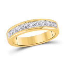 1 CTW Womens Princess Channel-set Diamond Single Row Wedding Band Ring 14kt Yellow Gold - REF-115T3V