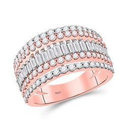 1 CTW Womens Baguette Diamond Modern Cocktail Band Ring 14kt Rose Gold - REF-124F6W