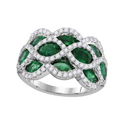3 CTW Womens Marquise Emerald Diamond Fashion Ring 18kt White Gold - REF-231A7M