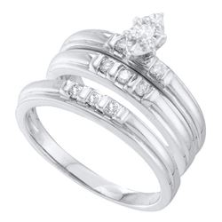 1/4 CTW His Hers Marquise Diamond Solitaire Matching Wedding Set 10kt White Gold - REF-45N2A