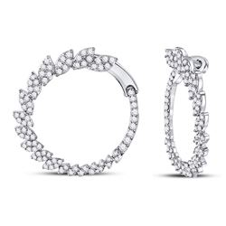 1 & 1/2 CTW Womens Round Diamond Fashion Hoop Earrings 14kt White Gold - REF-129Y5N