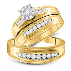 3/4 CTW His Hers Round Diamond Cluster Matching Wedding Set 10kt Yellow Gold - REF-81F7W