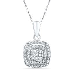 1/4 CTW Womens Round Diamond Square Frame Cluster Pendant 10kt White Gold - REF-20X5T