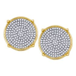 1/2 CTW Mens Round Diamond Circle Cluster Earrings 10kt Yellow Gold - REF-42Y2N