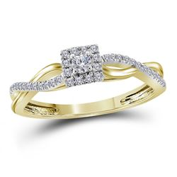 1/5 CTW Womens Round Diamond Solitaire Promise Ring 10kt Yellow Gold - REF-23F9W
