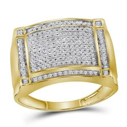 1/2 CTW Mens Round Diamond Rectangle Cluster Ring 10kt Yellow Gold - REF-51N2A