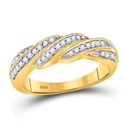 1/4 CTW Womens Round Diamond Diagonal Row Band Ring 10kt Yellow Gold - REF-23V9Y