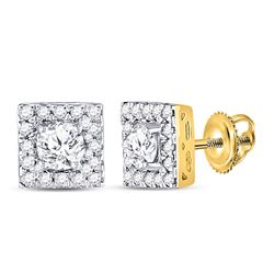 3/4 CTW Womens Round Diamond Square Halo Earrings 10kt Yellow Gold - REF-58M5F