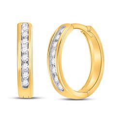 1/4 CTW Womens Round Diamond Hoop Earrings 10kt Yellow Gold - REF-30A7M