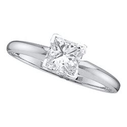 1/5 CTW Womens Princess Diamond Solitaire Bridal Wedding Engagement Ring 14kt White Gold - REF-29A4M