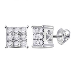 1/6 CTW Womens Round Diamond Square Cluster Earrings 10kt White Gold - REF-15F2W