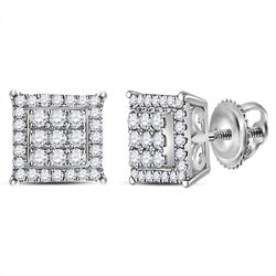 1/4 CTW Womens Round Diamond Square Cluster Earrings 14kt White Gold - REF-31X4T