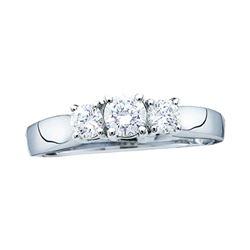 3/4 CTW Round Diamond 3-stone Bridal Wedding Engagement Ring 14kt Yellow Gold - REF-90V5Y