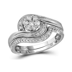 3/8 CTW Round Diamond Bridal Wedding Ring 14kt White Gold - REF-63X3T