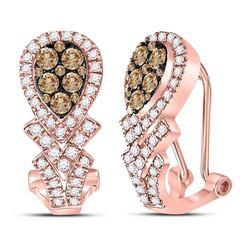 1 CTW Womens Round Brown Diamond Hoop Earrings 14kt Rose Gold - REF-95N5A