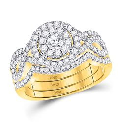 1 CTW Round Diamond 3-Piece Bridal Wedding Ring 14kt Yellow Gold - REF-122M6F