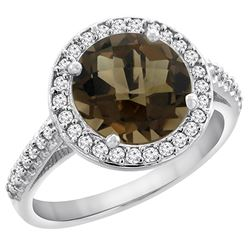 2.44 CTW Quartz & Diamond Ring 10K White Gold - REF-57F3N