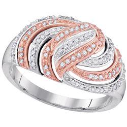 1/4 CTW Womens Round Diamond Striped Rose-tone Fashion Ring 10kt White Gold - REF-30Y5N