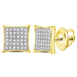 1/4 CTW Womens Round Diamond Square Cluster Earrings 14kt Yellow Gold - REF-19W2H