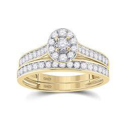 1/2 CTW Round Diamond Bridal Wedding Ring 10kt Yellow Gold - REF-47W6H