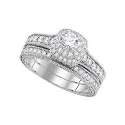 1 CTW Round Diamond Milgrain Bridal Wedding Ring 14kt White Gold - REF-146W6H