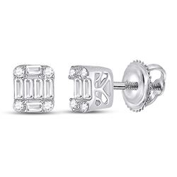 1/4 CTW Womens Baguette Diamond Fashion Cluster Earrings 14kt White Gold - REF-31N4A