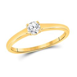 1/4 CTW Womens Round Diamond Solitaire Bridal Wedding Engagement Ring 14kt Yellow Gold - REF-37W5H
