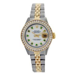 Rolex Pre-owned 26mm Womens Custom White Mother of Pearl Two Tone