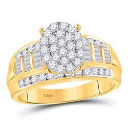1 CTW Round Diamond Oval Bridal Wedding Engagement Ring 10kt Yellow Gold - REF-69R5X