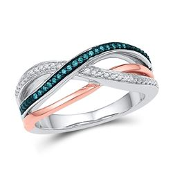 1/10 CTW Womens Round Blue Color Enhanced Diamond Crossover Band Ring 10kt White Gold - REF-29Y4N