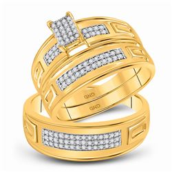 1/3 CTW His Hers Round Diamond Cluster Matching Wedding Set 10kt Yellow Gold - REF-47Y7N