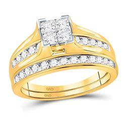 1 CTW Princess Diamond Bridal Wedding Ring 10kt Yellow Gold - REF-91Y9N