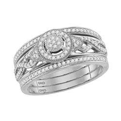 1/3 CTW Round Diamond Bridal Wedding Ring Band Set 10kt White Gold - REF-40W8H
