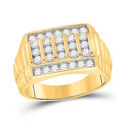 1 CTW Mens Round Diamond Ribbed Fashion Ring 10kt Yellow Gold - REF-117T2V