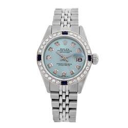 Rolex Pre-owned 26mm Womens Custom Light Blue Stainless Steel