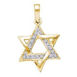 1/10 CTW Round Diamond Star Magen David Jewish 6-point Pendant 14k Yellow Gold - REF-27V3Y