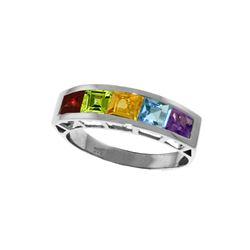 Genuine 2.25 ctw Multi-gemstones Ring 14KT White Gold - REF-54A2K