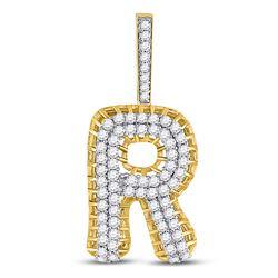 1 & 3/8 CTW Mens Round Diamond R Letter Charm Pendant 10kt Yellow Gold - REF-81H7R